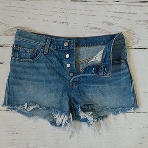 Levi's 501 Distressed Hem High Rise Shorts